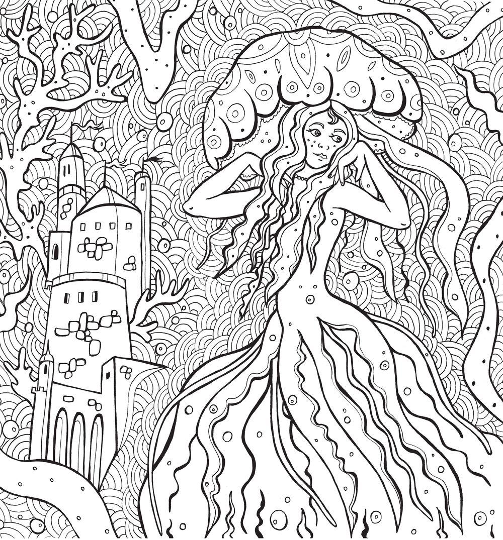 раскраска антистресс тайны подводных садов