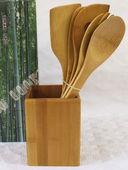 Набор кухонных инструментов бамбуковых на подставке (5 предметов; арт. BB101146) — фото, картинка — 1